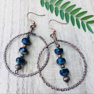 Boho wire wrapped dangle drop hoop earrings